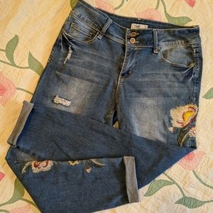 YMI Distressed Cuffed Ankle Jeans